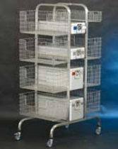 Transportwagen / für Sterilisations-Drahtkörbe / mit Korb / offene Bauweise