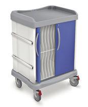 Transportwagen / für Krankenakten / mit Träger für Defibrillator / horizontaler Zugang