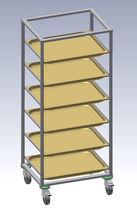 Modulares Regal / für Behälter / mobil / Edelstahl