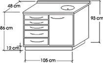 Abstellschrank / für zahnärztliche Instrumente / für Zahnarztpraxis / mit Schublade