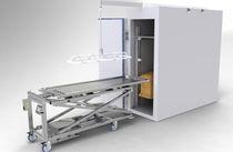 Höhenverstellbarer Wagen / für Materialumschlag / für Särge / mit Platte