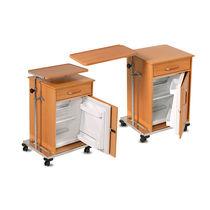 Nachttisch auf Rollen / mit Kühlfach / mit eingebauter Tischplatte