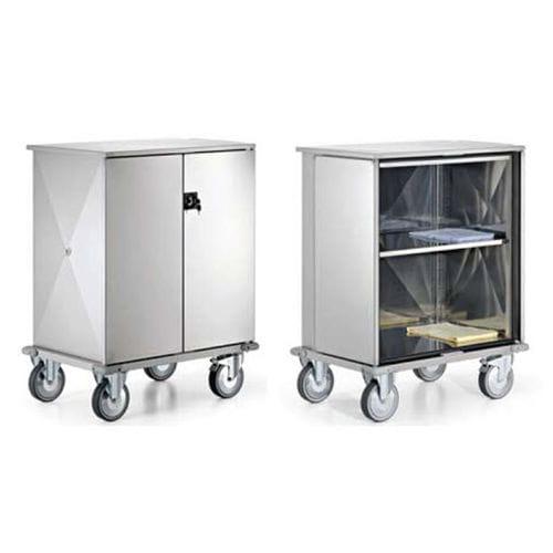 Servicewagen / für Frischwäsche / mit Tür / Edelstahl