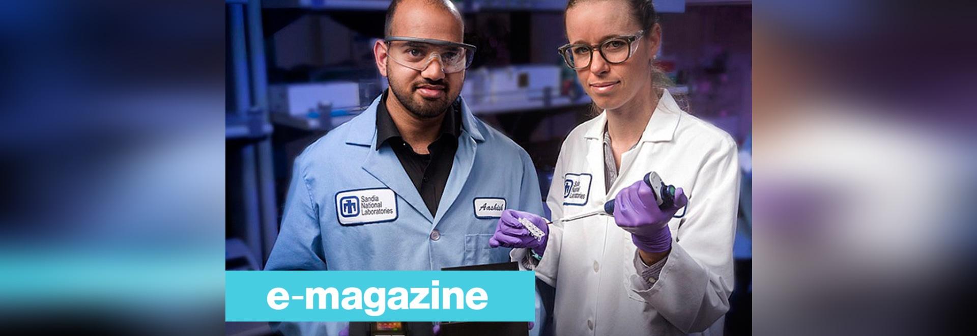 Sandia-nationale Laboratorien Chemieingenieur und Führungspapier Aashish Priye Autor bietet eine Ansicht in den Zika-Kastenprototyp, zusammen mit Mitverfassern Sara Bird, einem Virologen, Mitte und...