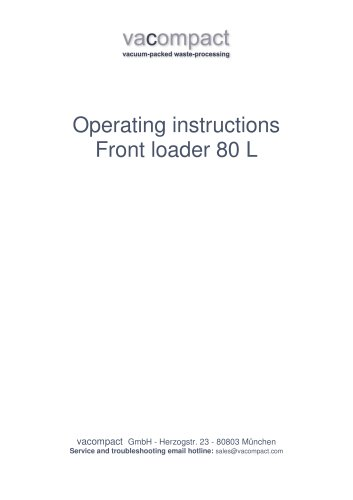 Vacompact Operating Instructions