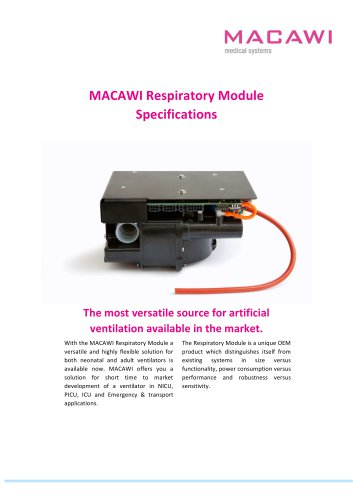 MACAWI Respiratory Module  Specifications