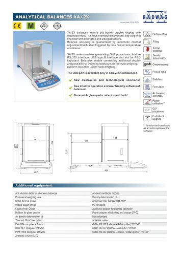 ANALYTICAL BALANCES XA/2X