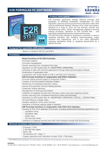 E2R FORMULAS PC SOFTWARE
