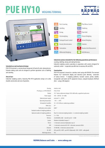 PUE HY10 WEIGHING TERMINAL