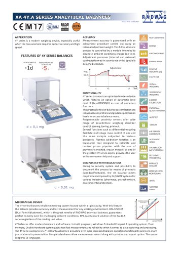 XA 4Y.A SERIES ANALYTICAL BALANCES