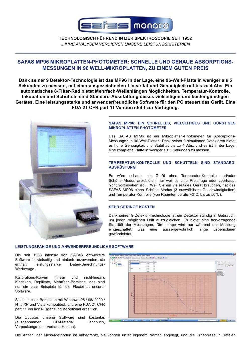 Safas Mp96 Mikroplatten Photometer Safas Pdf Katalog