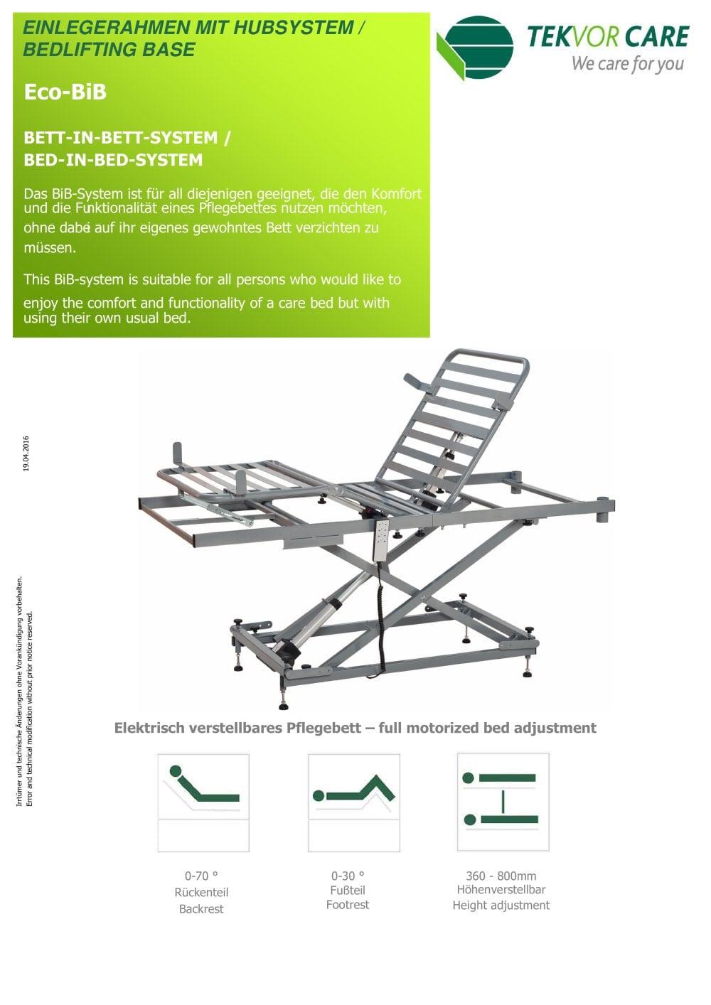 Technische Zeichnung Bett eco bib tekvor care pdf katalog technische unterlagen prospekt