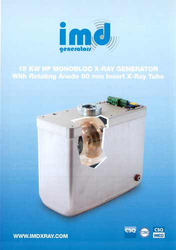 15 KW HF MONOBLOC X-RAY GENERATOR With Rotating Anode 80 mm Insert X-Ray Tube
