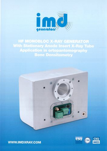 HF MONOBLOC X-RAY GENERATOR With Stationary Anode Insert X-Ray Tube Application in ortopantomography Bone Densitometry