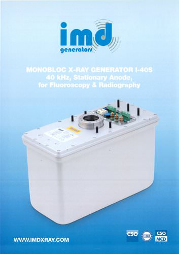MONOBLOC X-RAY GENERATOR I-40S 40 kHz, Stationary Anode, for Fluoroscopy & Radiography
