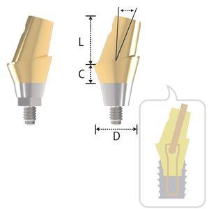 gewinkeltes Implantat-Abutment / anatomisch / konisch / Titan