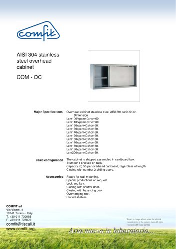AISI 304 stainless steel overhead cabinet