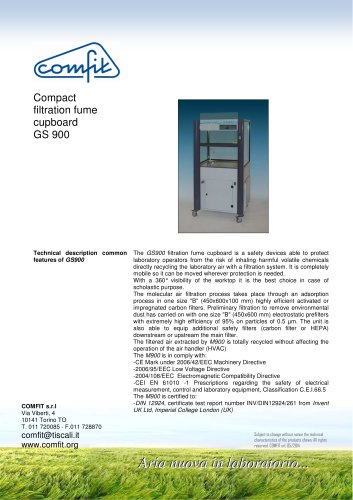 Compact filtration fume cupboard GS 900