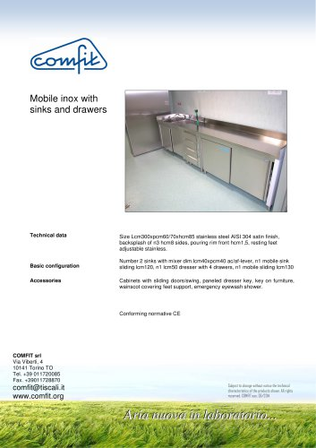 Mobile inox with sinks and drawers
