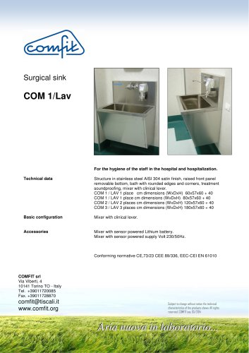 Surgical sink COM 1/Lav