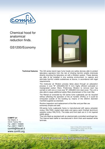 The fume cupboard GS 1200/Economy for anatomical reduction finds