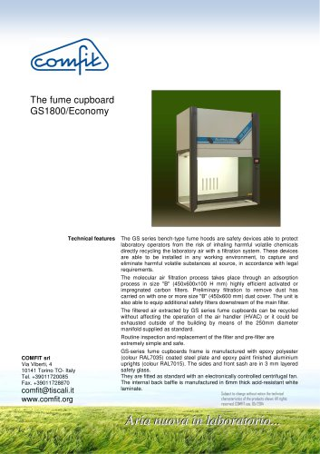 The fume cupboard GS 1800/Economy