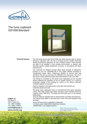 The fume cupboard GS1000/Standard