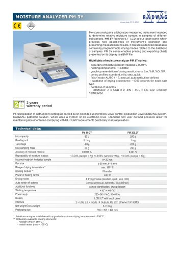 MOISTURE ANALYZER PM 3Y
