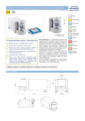 MYA 3Y.P Microbalances for calibration of pipettes