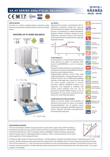 XA 4Y SERIES ANALYTICAL BALANCES