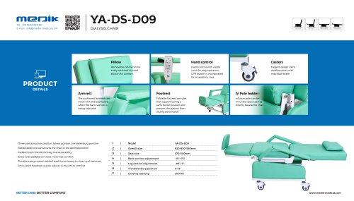YA-DS-D09 Reclining Dialysis chair
