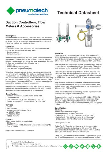 Flow Meters and Suction/Vacuum Regulators