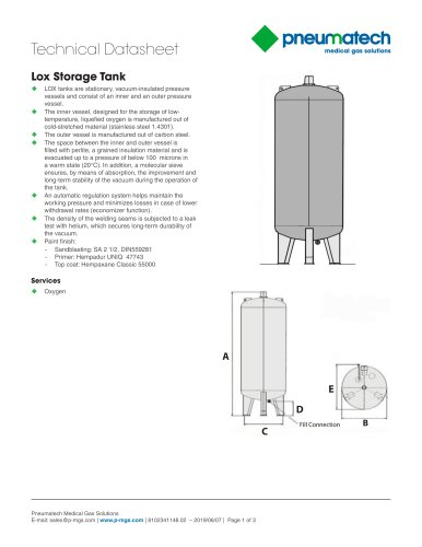 Liquid Oxygen Systems - LOX Storage Tank