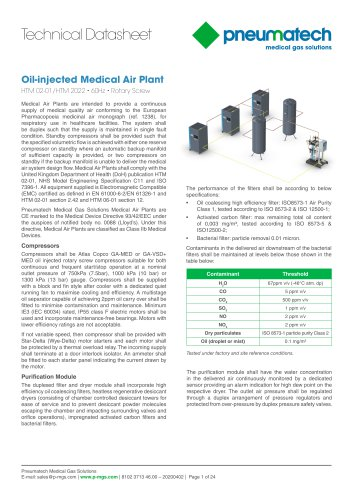 Oil-Injected Screw Medical Air Systems 60 Hz