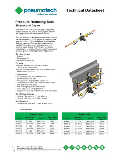 Pressure Reducing Sets - Simplex and Duplex