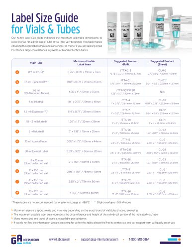 Label Size Guide for Vials and Tubes