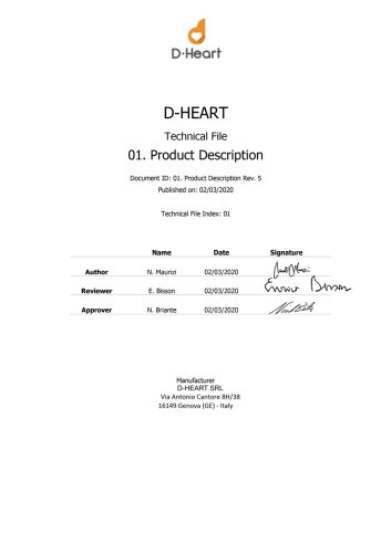 D-Heart Portable ECG Device Technical Description