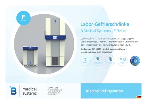 B Medical Systems Labor Gefrierschränke