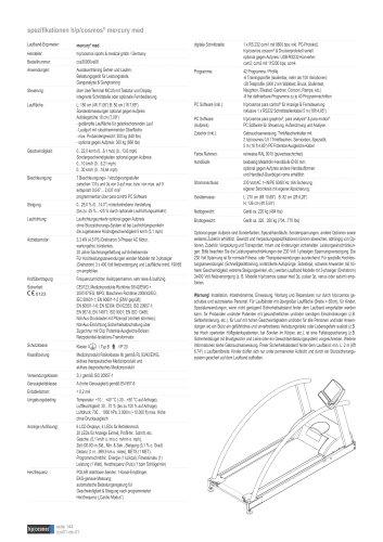 spezifikationen h/p/cosmos® mercury med