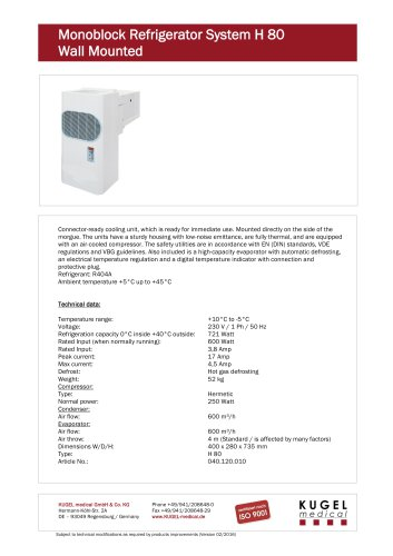 Monoblock  Refrigerator  System H 80 Wall  Mounted
