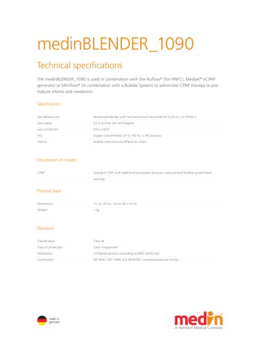 Technical Specifications medinBLENDER 1090