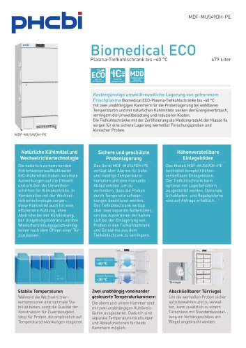 Biomedical ECO-Plasma-Tiefkühlschränke bis –40 °C
