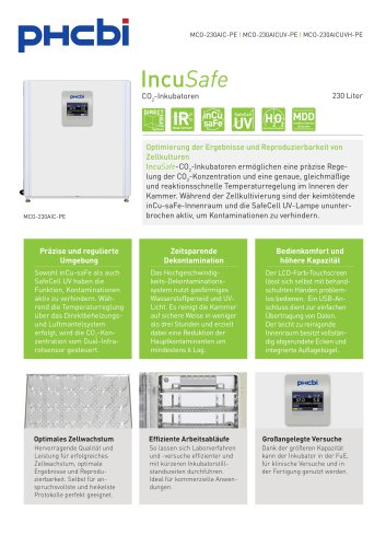 MCO-230AIC-PE CO2-Inkubatoren
