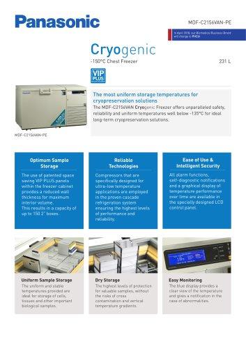 MDF-C2156VAN-PE Cryogenic Freezer Product sheet