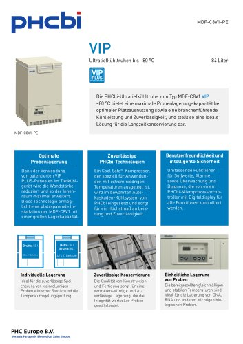 MDF-C8V1-PE Ultratiefkühltruhen bis –80 °C
