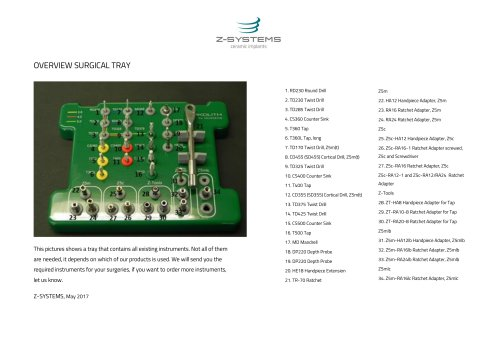 OVERVIEW SURGICAL TRAY