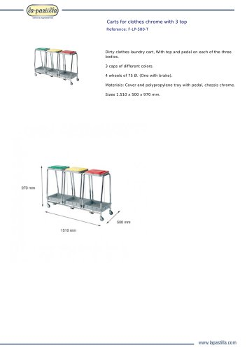 CARTS FOR CLOTHES CHROME WITH 3 TOP