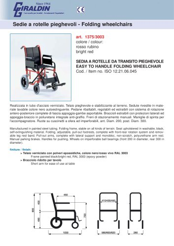 Folding wheelchairs 1375/3003