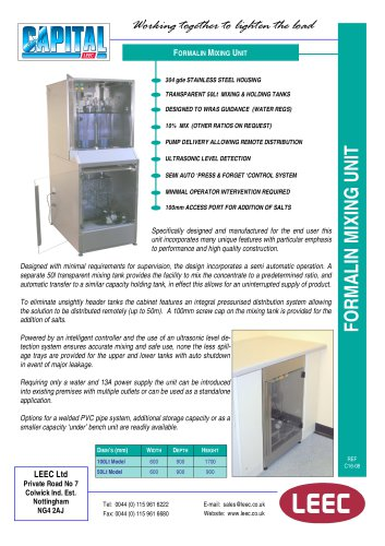 Formalin Mixing Unit brochure