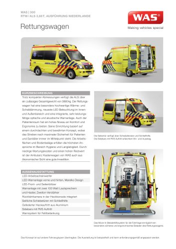WAS 300 Rettungswagen RTW Mercedes-Benz Sprinter Kastenwagen ALS 3,88 T